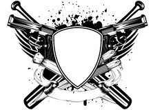 Grunge frame knifes bats and two pistols Stock Images