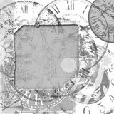 Grunge frame with old clocks Stock Photos