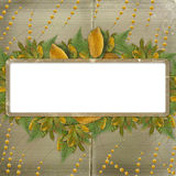 Grunge frame on the old paper for congratulation Stock Images