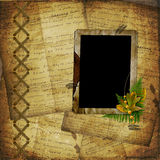 Grunge frame on the old paper for photos Stock Images