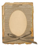 Grunge frame for old portrait or picture. In scrapbooking style with bow Stock Images