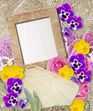 Grunge frame with pansy and paper Royalty Free Stock Image