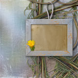 Grunge frame for photo, on the abstract background. Yellow flower Royalty Free Illustration