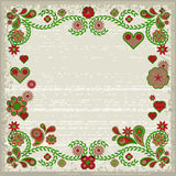 Grunge frame with pink and green flowers and hearts Stock Image