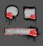 Grunge frame with rose. Grunge frame with red rose end drop Royalty Free Stock Photography