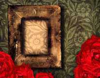 Grunge frame and roses Royalty Free Stock Image