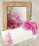 Grunge frame with roses and paper royalty free stock image