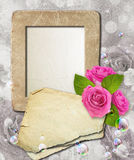 Grunge frame with roses and paper Royalty Free Stock Photos