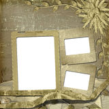 Grunge frame in scrapbooking style. With bunch of rose Stock Images