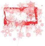 Grunge frame & snowflakes Royalty Free Stock Photo