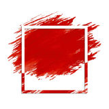 Grunge frame on stroke. Decorative simple frame with the background of red paint stroke Stock Image