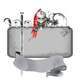 Grunge frame with swords and knights helmet Stock Photography