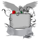 Grunge frame with swords and rose Stock Photos