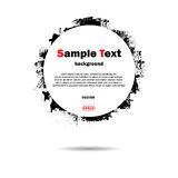 Grunge frame with text. White background with black grunge circle and sample text Stock Photos