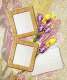 Grunge frame with tulips and paper Stock Images