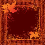 Grunge Frame With Autumn Leafs. Thanksgiving Stock Photos