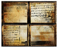 Grunge framed background. With handwriting letters Stock Image