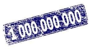 Grunge 1 000 000 000 Framed Rounded Rectangle Stamp. 1 000 000 000 stamp seal print with distress texture. Seal shape is a rounded rectangle with frame. Blue stock illustration
