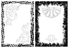 Grunge frames and design elements. Grunge frames with separate grunge floral design elements and shell Stock Images