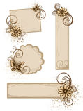 Grunge frames with flowers. Grunge brown  frames with flower and drop Royalty Free Stock Photo