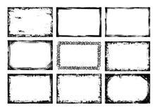 Grunge frames. Nine black grunge frames on white background Royalty Free Stock Photos