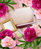 Grunge frames with peony  and paper Royalty Free Stock Photo