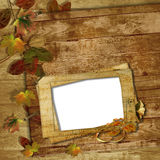 Grunge frames for the photo on a wooden background Royalty Free Stock Image
