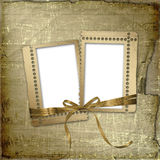 Grunge frames with ribbon and bow Stock Photo