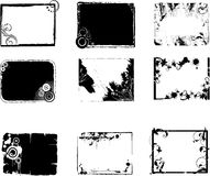 Grunge frames set. Set of black and white grunge decorative frames Royalty Free Stock Images
