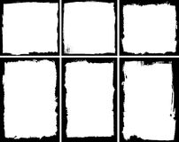 Grunge frames. Set of square and rectangular textured frames vector illustration