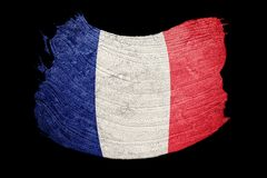Grunge France flag. France flag with grunge texture. Brush strok Stock Photo