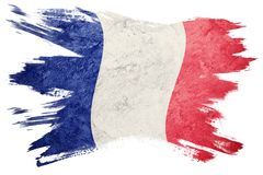 Grunge France flag. France flag with grunge texture. Brush strok Royalty Free Stock Photo
