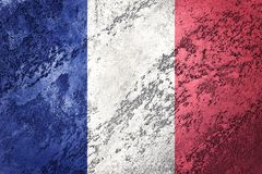 Grunge France flag. France flag with grunge texture. Royalty Free Stock Images