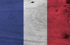 Grunge French flag texture, it is a vertical tricolor of blue white and red. stock illustration
