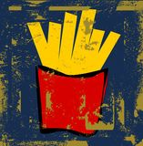 Grunge french fries Royalty Free Stock Images