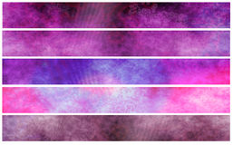 Grunge fuchsia violet banners or headers Stock Images