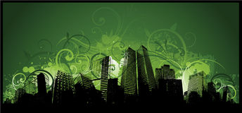 Grunge funky city background Stock Image