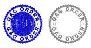 Grunge GAG ORDER Textured Stamps. Grunge GAG ORDER stamp seals isolated on a white background. Rosette seals with grunge texture in blue and gray colors. Vector vector illustration