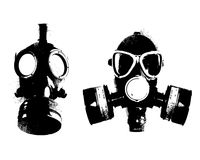 Grunge gas mask clipart, scanography Stock Images