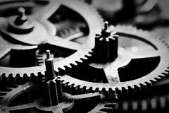 Grunge gear, cog wheels black and white background. Industrial, science Stock Image