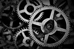Grunge gear, cog wheels black and white background. Industrial, science Royalty Free Stock Image