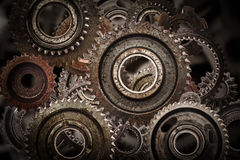 Grunge gear, cog wheels mechanism background.. Industry, science Stock Photo