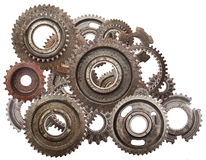 Grunge gear, cog wheels mechanism isolated on white. Industry, science Stock Photography