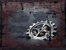 Grunge gear wheel. Grunge background - gear wheel in water - illustration Royalty Free Stock Images