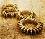 Grunge gears. Interlocking gears on grunge style background Stock Photo