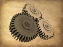 Grunge gears. 3d rendered illustration of an old paper with gears Royalty Free Stock Photos