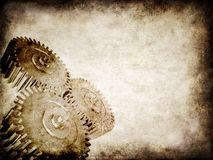 Grunge gears. 3d rendered illustration of an old paper with gears Stock Photography