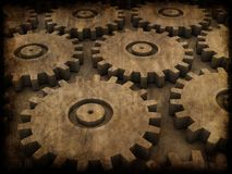 Grunge gears. 3d rendered illustration of an old paper with gears Stock Photos