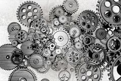 Grunge Gears Background. Black and White Dirty Grunge Mechanical Background Royalty Free Stock Image