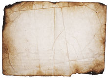 Grunge gebrande pagina op wit Royalty-vrije Stock Fotografie